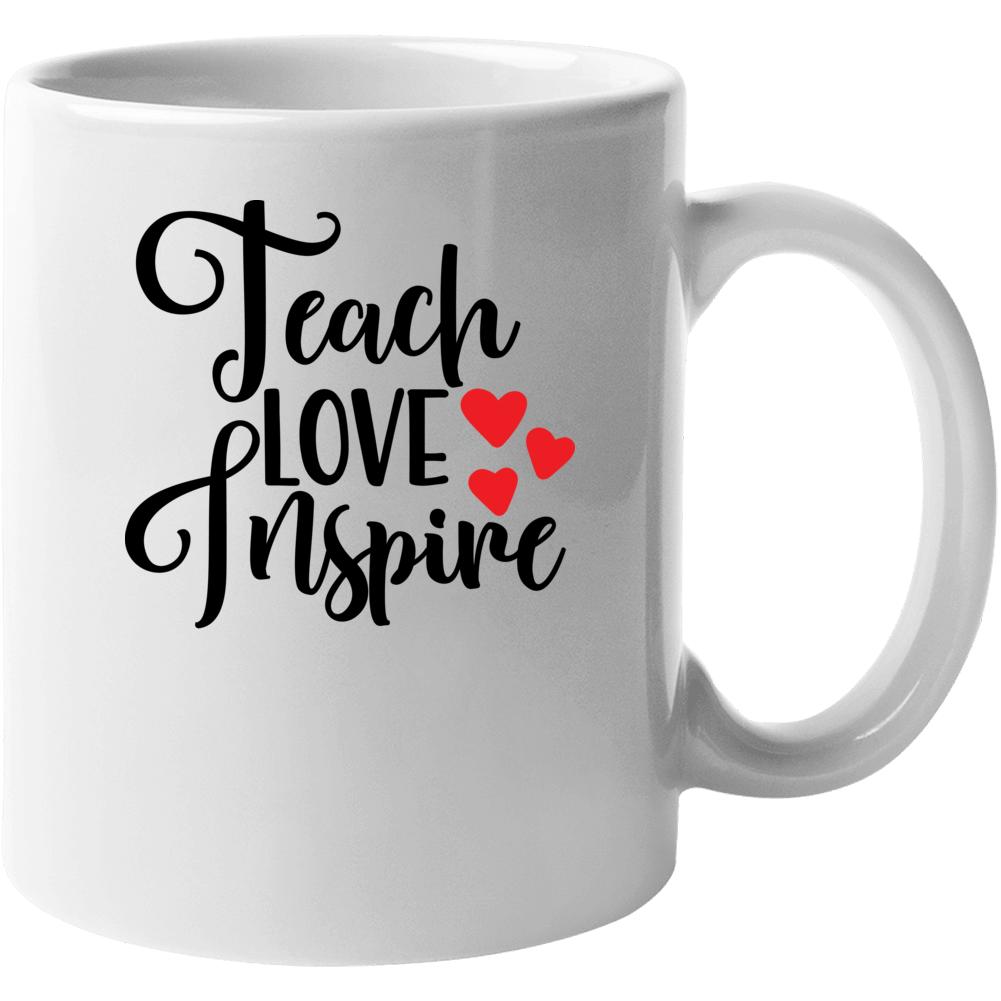 Teach Love Inspire Totebag, White And Black, Teacher Gift, Teacher Appreaciation Mug