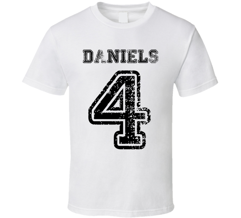Daniels Family Last Name Surname Number 4 Team Jersey Style T Shirt