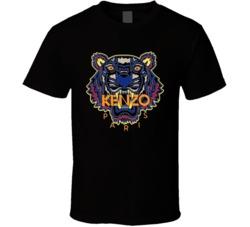 Kenzo Paris Tiger Animal Inspired Black T Shirt