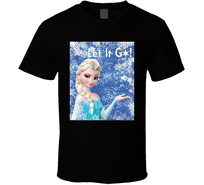 Elsa Let It Go Frozen Black Graphic T Shirt