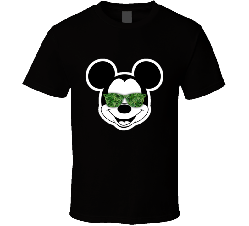 Mickey Mouse Marijuana Weed Sunglass Ray Bans Parody T Shirt