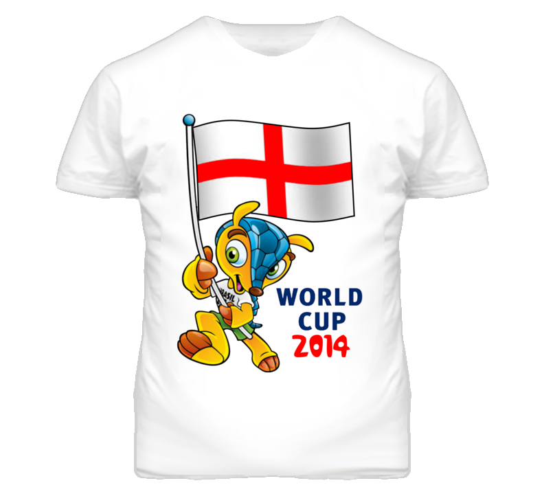 World Cup 2014 Soccer Mascot Holding England Flag T Shirt