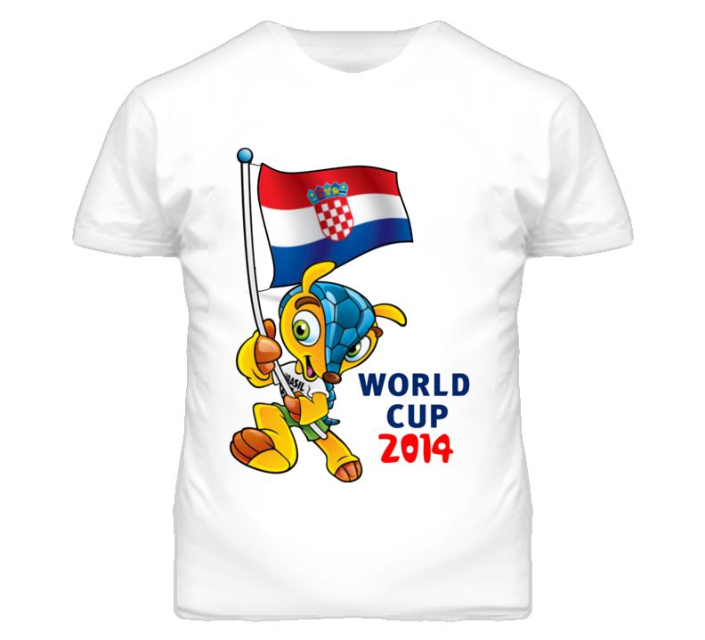 World Cup 2014 Soccer Mascot Holding Croatia Flag T Shirt