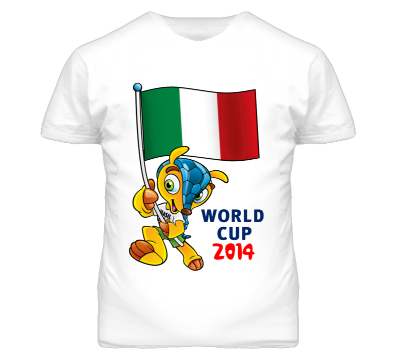 World Cup 2014 Soccer Mascot Holding Italy Flag T Shirt