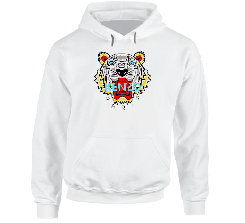 Kenzo Paris Tiger Animal Inspired Hoodie Sweatshirt
