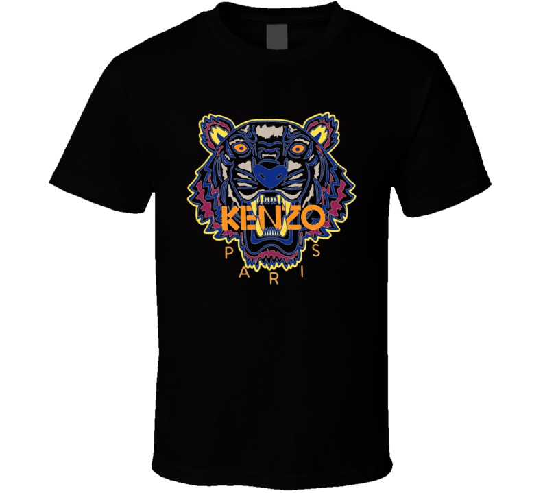 Kenzo Paris Tiger Animal Inspired Black T Shirt