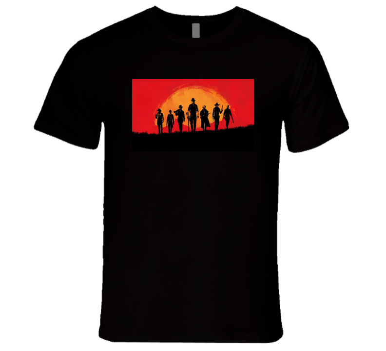 Red Dead Redemtion Ii 2 Outlaws For Life Video Game Wild West Sunset Guns Gamer Fan T Shirt
