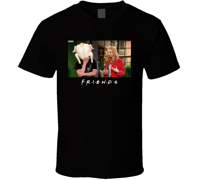Friends Tv Christmas Joey Turkey On Head Phoebe Holiday Thanksgiving Dinner T Shirt