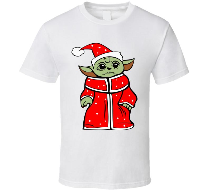 Baby Yoda Santa Claus Cloak Christmassy Santa Hat Christmas Themed Mandalorian Star Wars Fan Xmas Cool Gift T Shirt