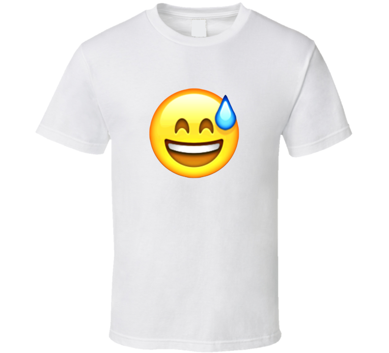 Smiling Face Cold Sweat Apple Iphone Texting Emoji Funny T Shirt