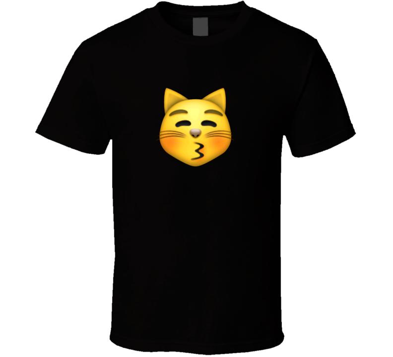 Kissing Cat Face Closed Eyes Apple Iphone Texting Emoji Funny T Shirt