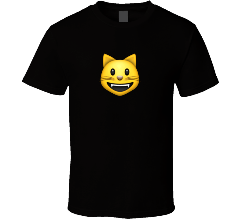 Smiling Cat Face With Open Mouth Apple Iphone Emoji Funny T Shirt