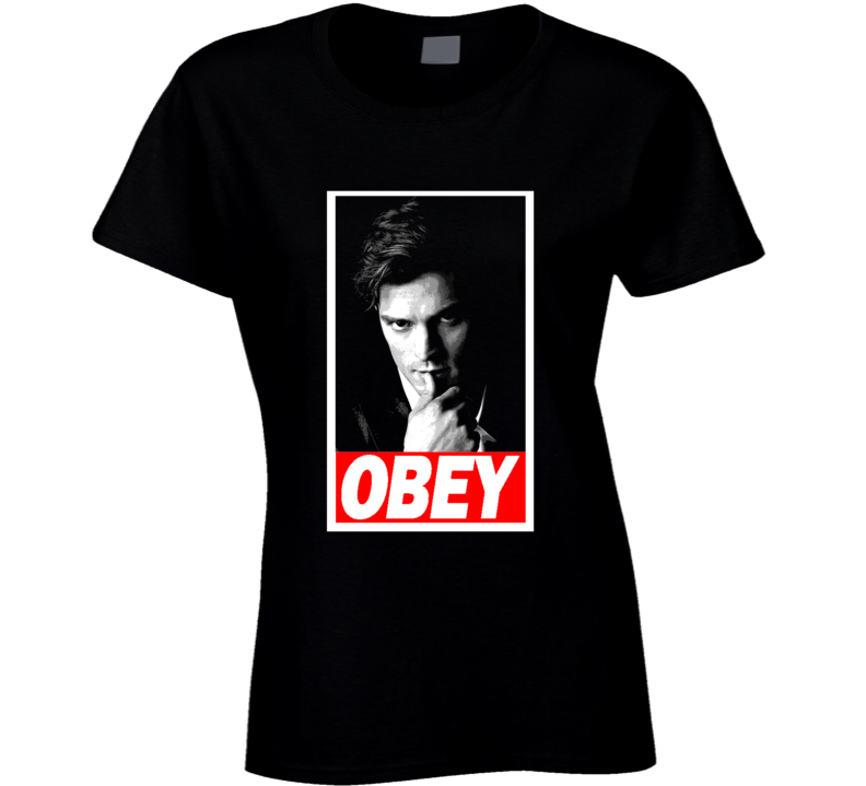 Obey Mr Grey 50 Shades Jamie Dornan Obey Parody Black T Shirt