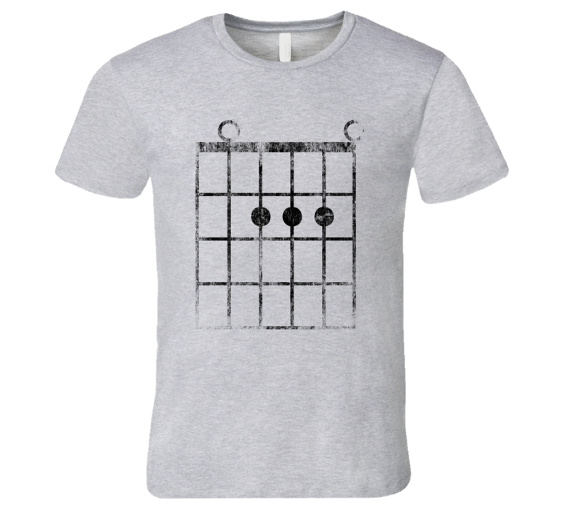 Guitar Fret A-Major Chord T-Shirt Faded Funny Music Jazz Rock and Roll Musician Tshirt