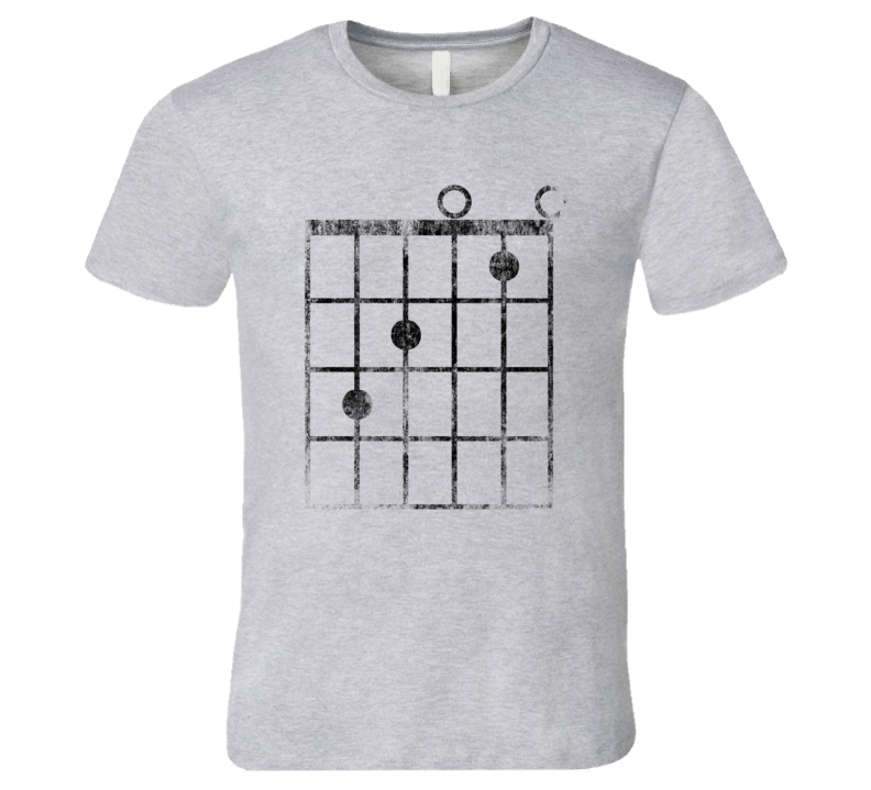 Guitar Fret C-Major Chord T-Shirt Faded Funny Music Jazz Rock and Roll Musician Tshirt
