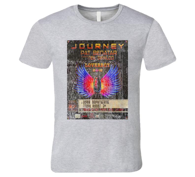 Journey Pat Benatar Rock Concert Vintage Poster Faded T-Shirt