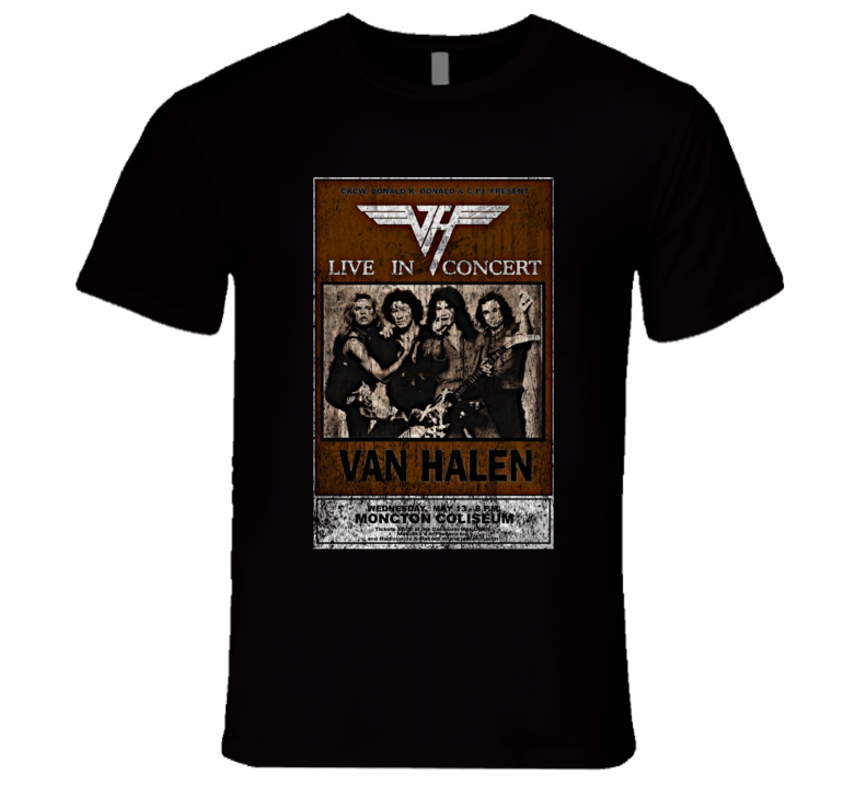 Van Halen Rock Concert Vintage Poster Faded T-Shirt
