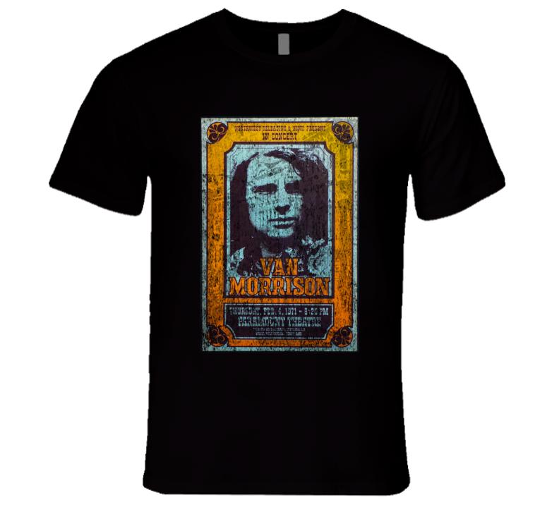 Van Morrison Rock Concert Vintage Poster Faded T-Shirt