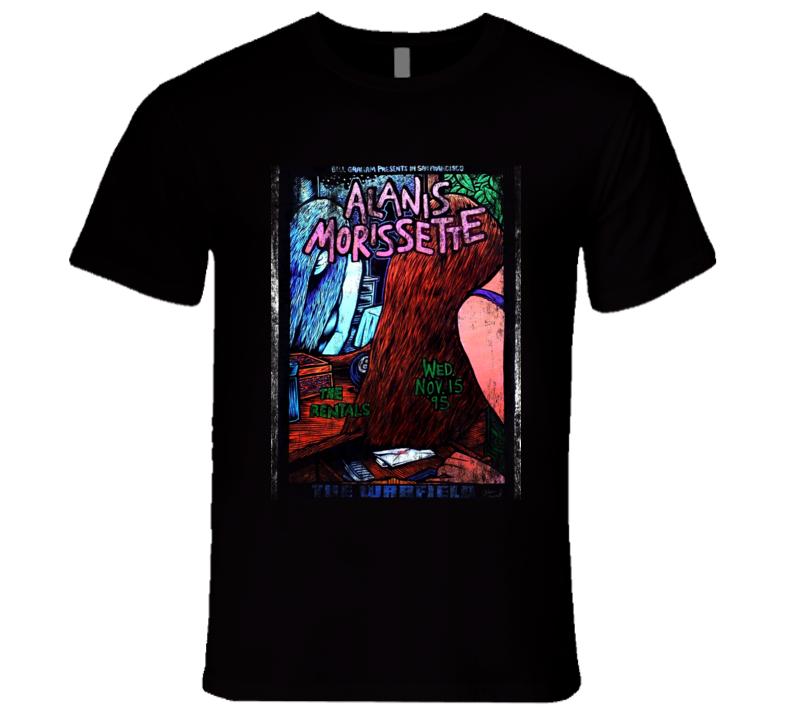 Alanis Morissette Rock Concert Vintage Poster Faded T-Shirt