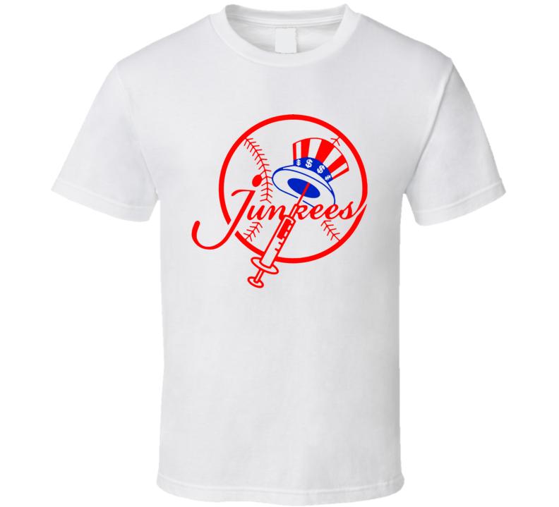 Ny Baseball Parody Steroids Junkies T Shirt