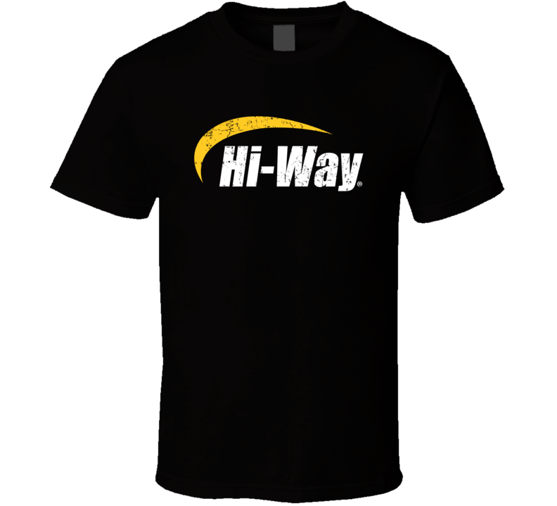 Hi Way Automobile Car Truck Motorcycle Auto Parts Cool Distressed Style Brand Logo Emblem White Font T Shirt