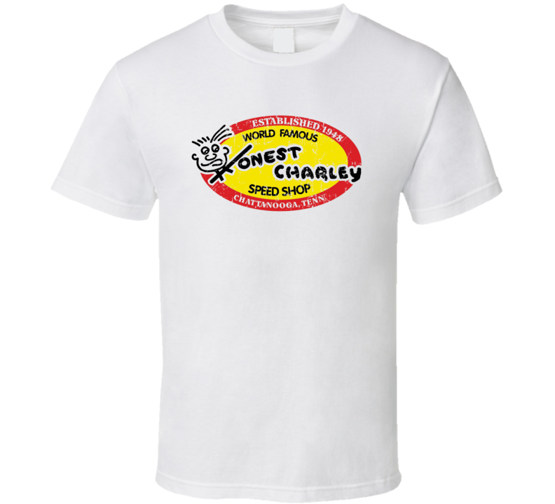 Honest Charley Speed Shop Automobile Car Truck Motorcycle Auto Parts Cool Distressed Style Brand Logo Emblem T Shirt