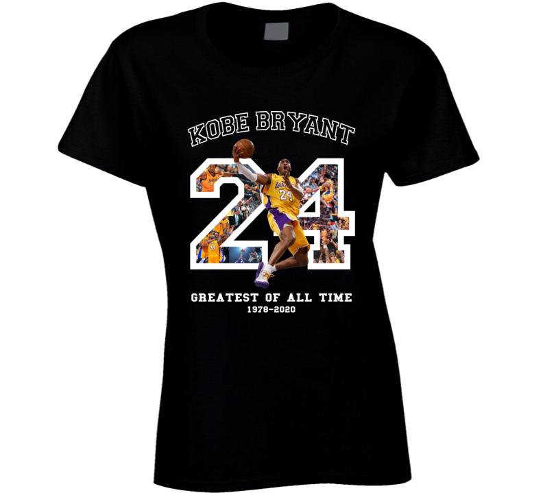 Kobe Bryant Greatest Of All Time Fan Memorial Black Mamba Forever Ladies T Shirt