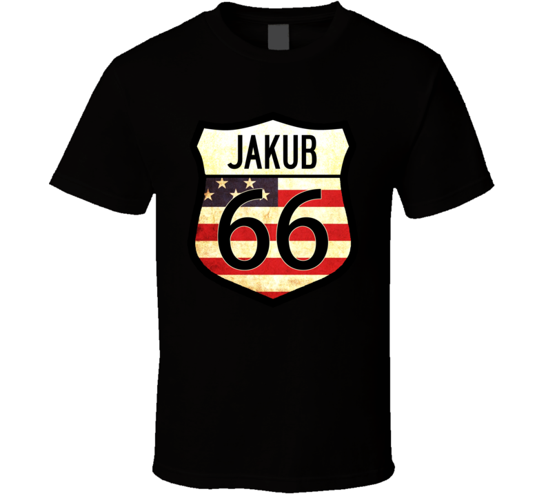 Jakub Personalized American Flag Route 66 Highway Sign T Shirt