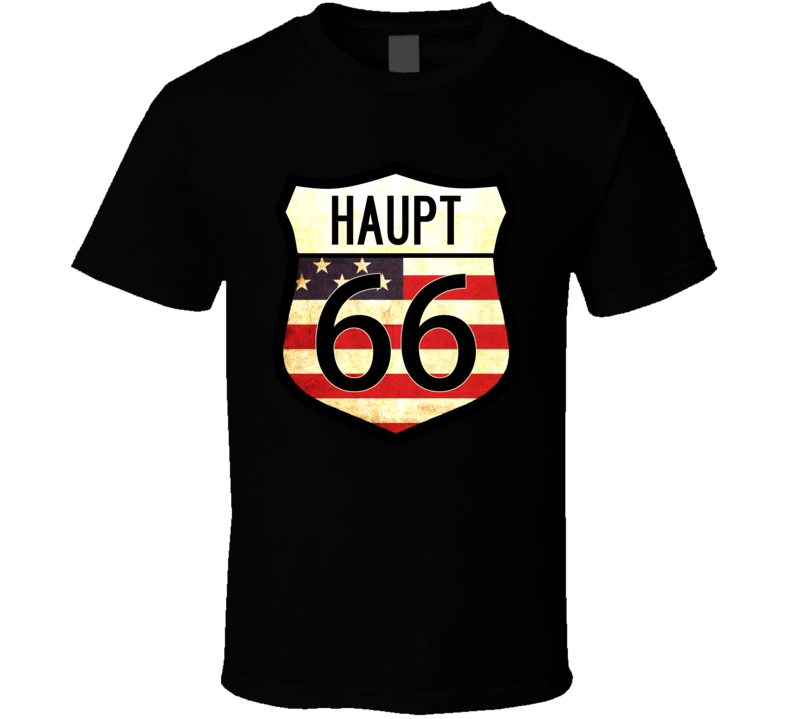Haupt Personalized American Flag Route 66 Highway Sign T Shirt