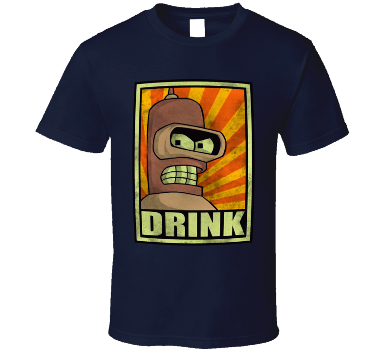 Bender Futurama Drink Poster T Shirt
