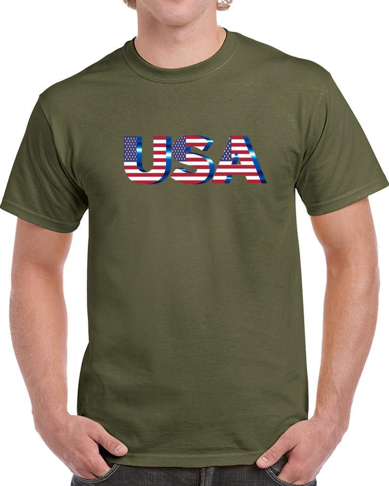 Usa Letters Flag Blue T Shirt