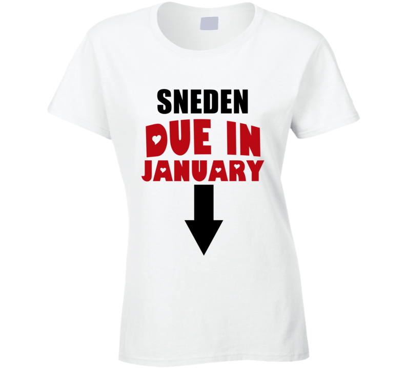 Sneden Due In January Last Name Maternity T Shirt