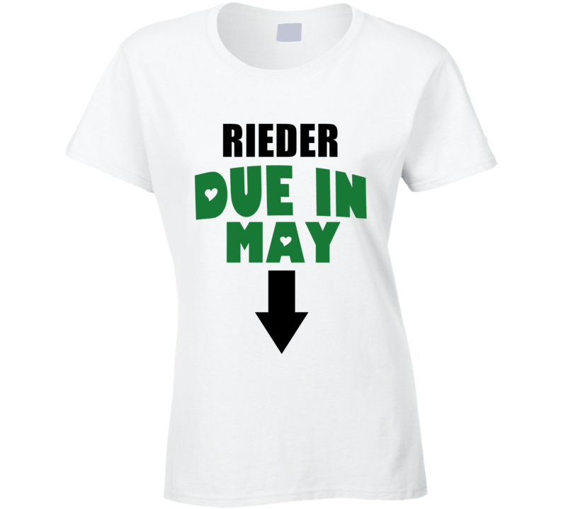 Rieder Due In May Last Name Maternity T Shirt