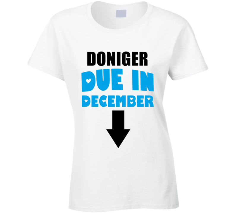 Doniger Due In December Last Name Maternity T Shirt