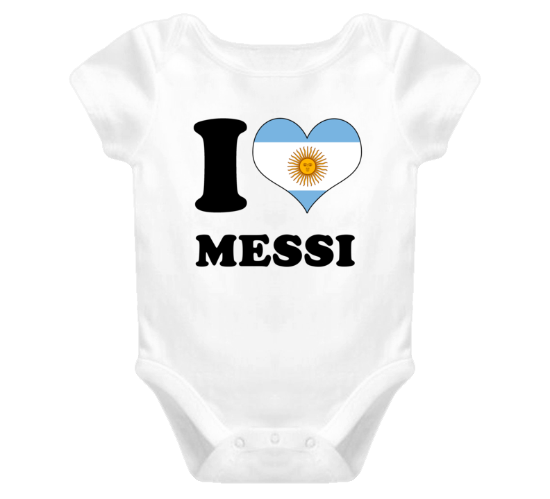 Lionel Messi Argentina Fw I Love Baby One Piece Bodysuit Football Soccer World Cup T Shirt