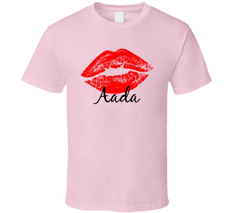 Aada Personalized Name Lips Kiss Love Essential T Shirt