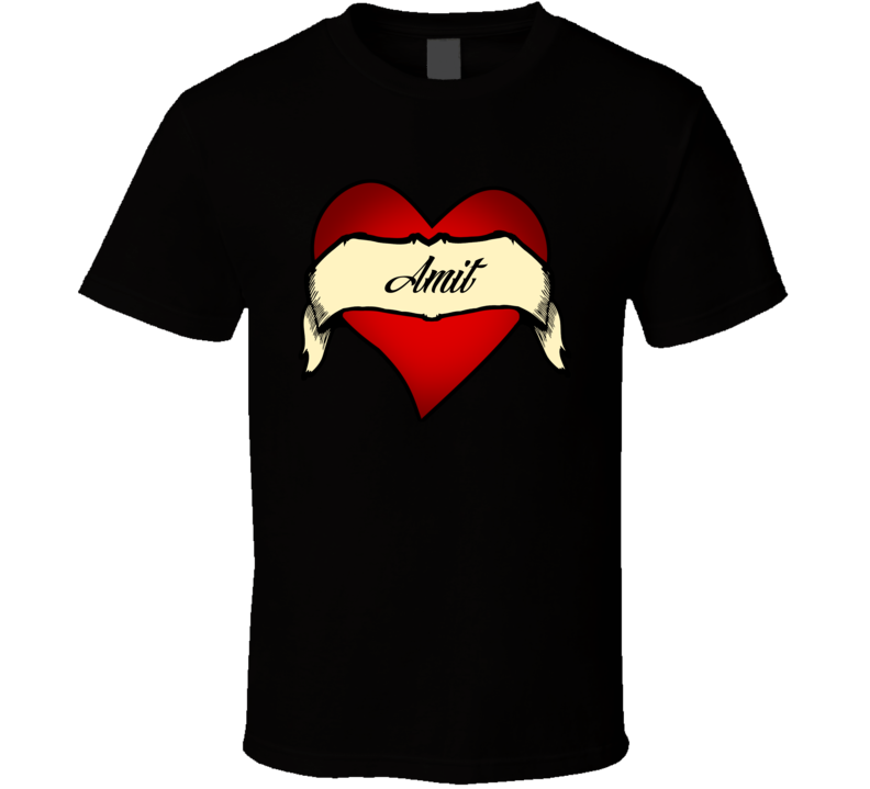 Heart Amit Tattoo Name T Shirt