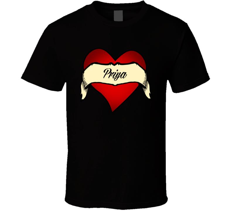 Heart Priya Tattoo Name T Shirt