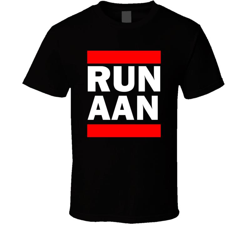 Run AAN United Arab Emirates    Funny Graphic Patriotic Parody Black T Shirt