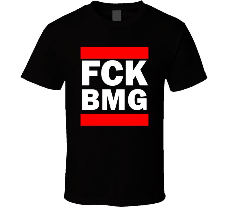 Fck BMG IN USA Monroe County   Funny Graphic Patriotic Parody Black T Shirt