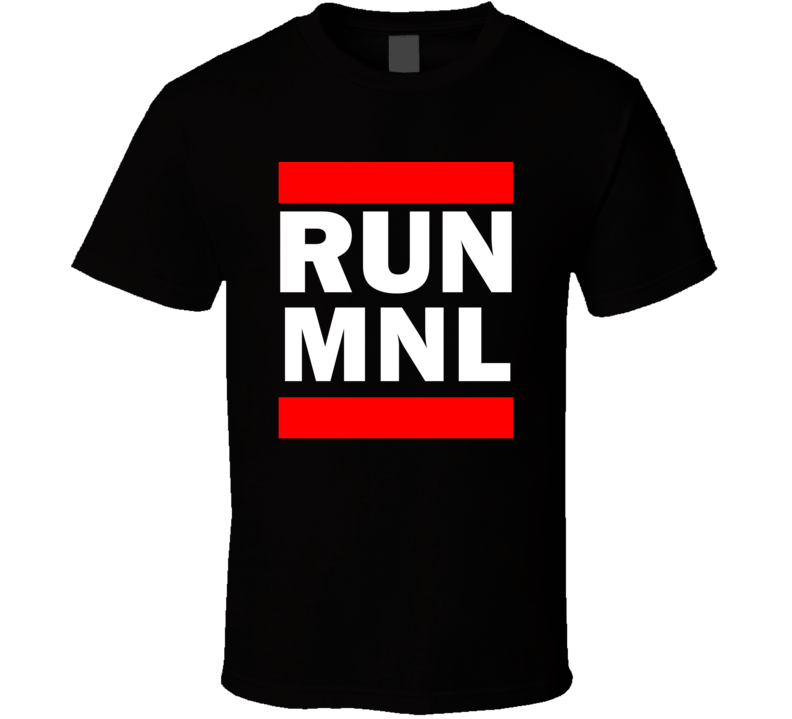 Run MNL Philippines Ninoy Aquino International   Funny Graphic Patriotic Parody Black T Shirt