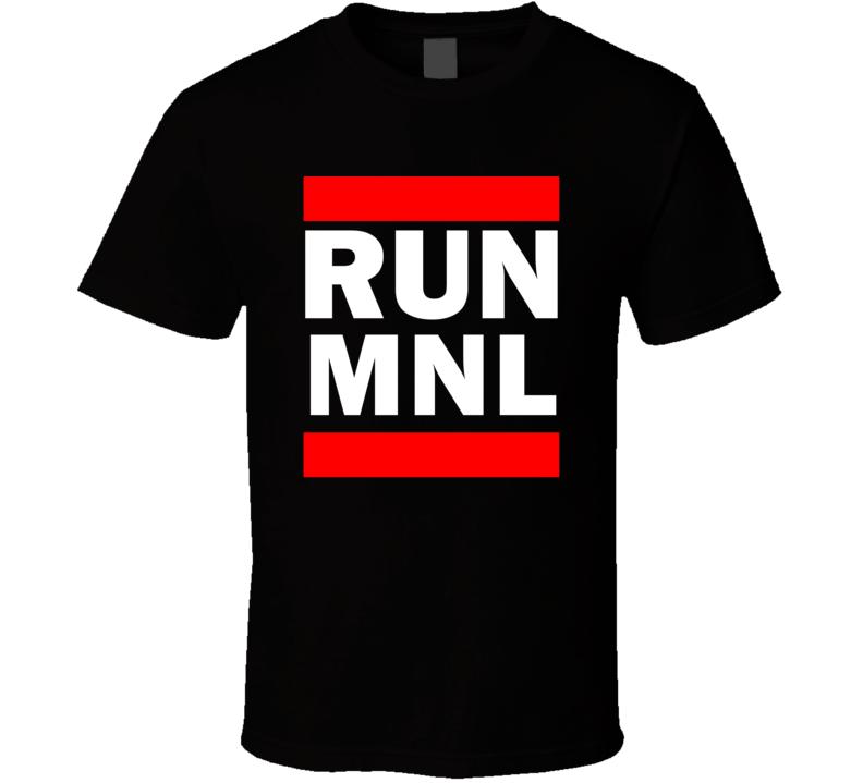Run MNL Philippines Ninoy Aquino International   Funny Graphic Patriotic Parody Black T Shirt
