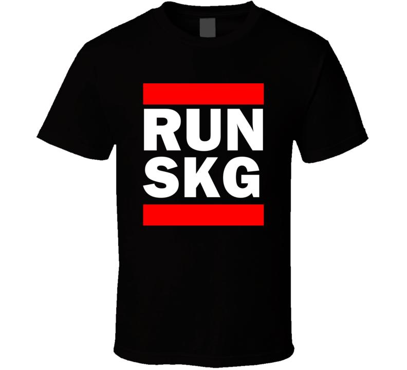 Run SKG Greece Thessaloniki     Funny Graphic Patriotic Parody Black T Shirt