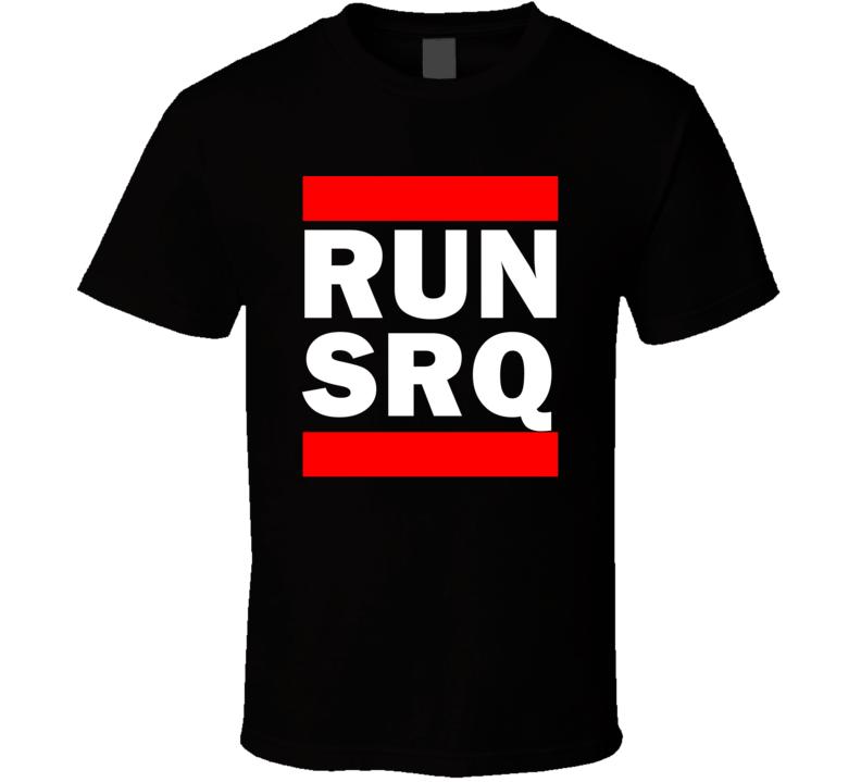 Run SRQ FL USA SarasotaBradenton    Funny Graphic Patriotic Parody Black T Shirt