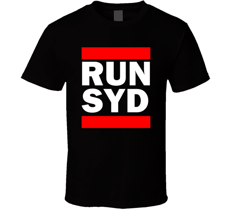 Run SYD New South Wales    Funny Graphic Patriotic Parody Black T Shirt