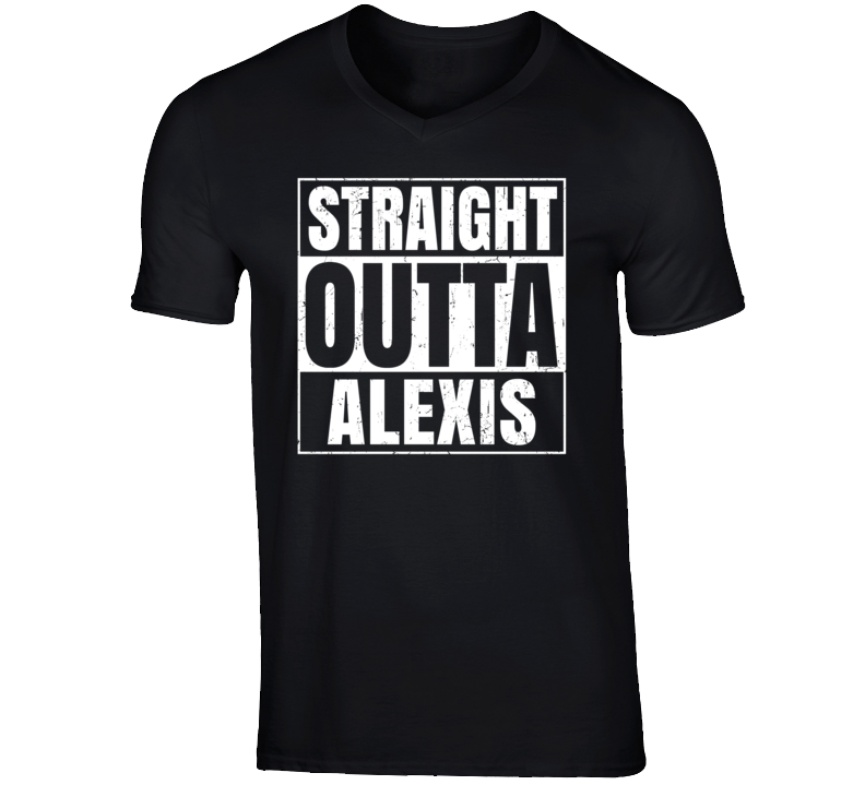 Straight Outta Alexis Illinois Parody Grunge City Father's Day Vneck T Shirt