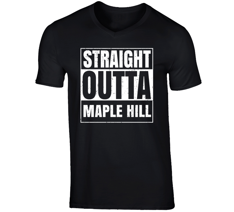 Straight Outta Maple Hill Kansas Parody Grunge City Father's Day Vneck T Shirt