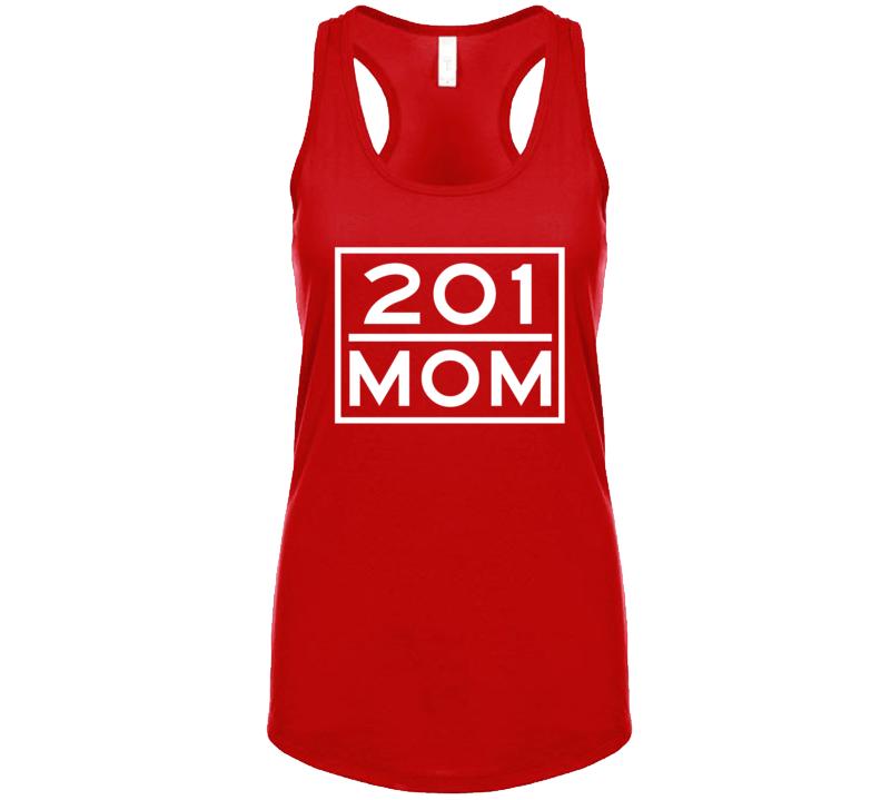 201 Mom Jersey City Nj Area Code Represent Hometown Ladies Racerback Tanktop
