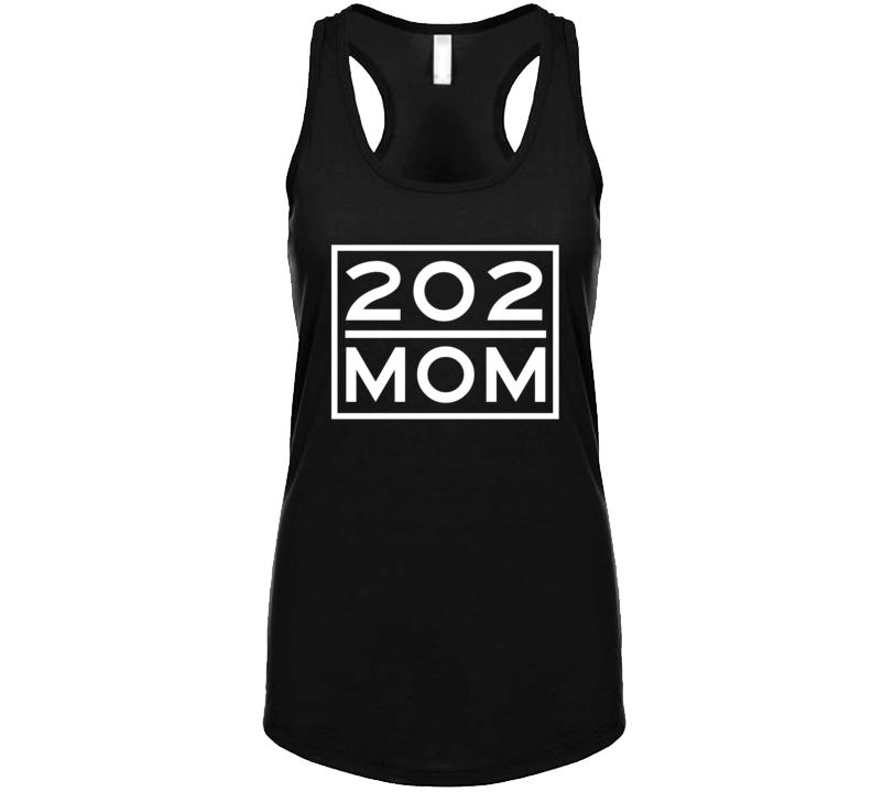202 Mom District Of Columbia Area Code Represent Hometown Ladies Racerback Tanktop
