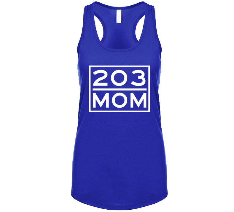 203 Mom Bridgeport Ct Area Code Represent Hometown Ladies Racerback Tanktop